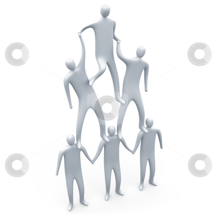Teamwork stock photo, People helping each other to form a human pyramid. by Konstantinos Kokkinis