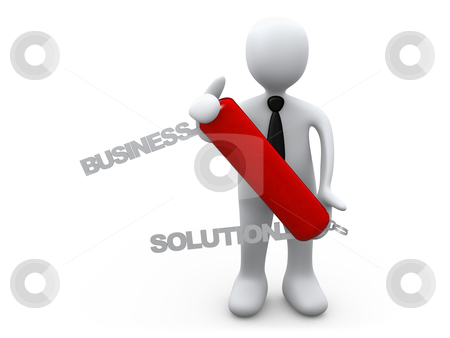 Business Solution stock photo, 3d person holding a swiss knife with the words Business Solution coming out of it. by Konstantinos Kokkinis