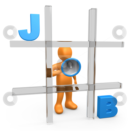 Job Tic Tac Toe stock photo, Metaphor of a person forming the word JOB on a large tic tac toe game. by Konstantinos Kokkinis