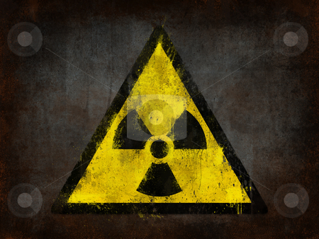 Nuclear sign stock photo, metal rust grunge and ruined with nuclear symbol by Giordano Aita