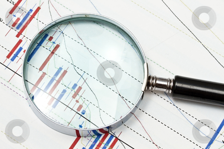 Background of business graph  stock photo, Background of business graph and a magnifier   by Ingvar Bjork