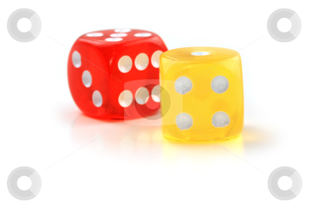 Yellow and red dice stock photo, Close up shot of red and yellow dice on white background by Sreedhar Yedlapati