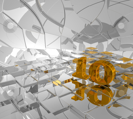 Golden number ten stock photo, cubes background and golden number ten - 3d illustration by J?