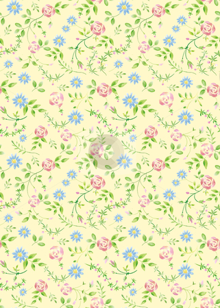 Seamless pattern A010 stock photo, herb garden wrapping seamless pattern-Yellow background   by Tang Shu-chuan