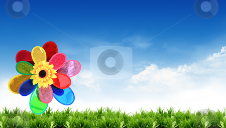 Colorful windmill with beautiful views stock photo, colorful windmill with beautiful views by rufous
