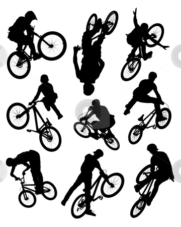Bike stunt silhouettes stock photo, Series of silhouette photographs of bikers doing stunts.  Some motion blur is visible on the wheels and spokes.  by © Ron Sumners