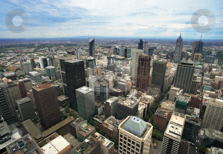 Melboune Australia cityscape stock photo, An image of the cityscape of Melbourne, Australia taken from the Rialto tower.  by © Ron Sumners