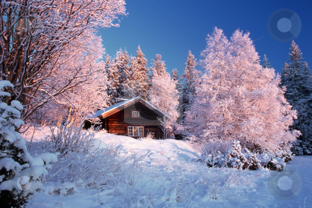 Winter landscape  stock photo, Winter landscape with small cabin in frost by Ingvar Bjork