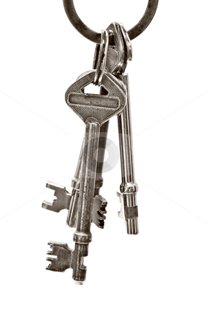 A bunch of old keys isolated stock photo, A bunch of old keys isolated on white background   by Ingvar Bjork