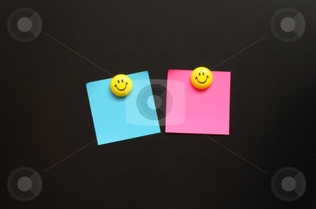 Smiley and paper with copyspace stock photo, smiley and blank sheet note paper with copyspace  by Gunnar Pippel