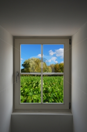 Window and nature stock photo, view to summer nature concept with window and copyspace by Gunnar Pippel