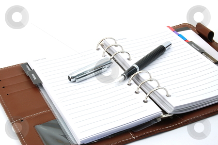 Notebook stock photo, empty business notebook or organizer with pen by Gunnar Pippel