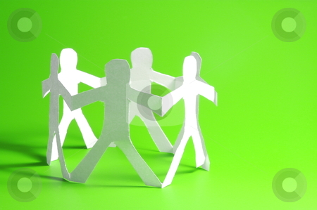Friends and friendship stock photo, concept for friendship friends team teamwork love and help with paper man by Gunnar Pippel
