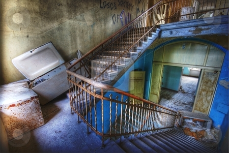 Stairs stock photo, details of a staicase in an abandoned building by Juliane Jacobs