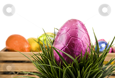 Colorful easter eggs on a white background stock photo, Colorful easter eggs on a white background by tish1