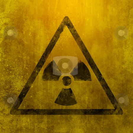 Nuclear dangerous sign stock photo, metal rust grunge and ruined with nuclear symbol by Giordano Aita