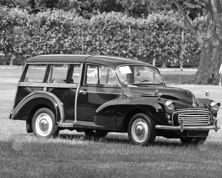 Classic car 1  stock photo, a black and white image of a british classic car  by lizapixels