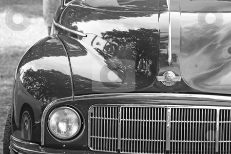 Classic car 8 stock photo, a black and white image of a great briitsh classic car  by lizapixels