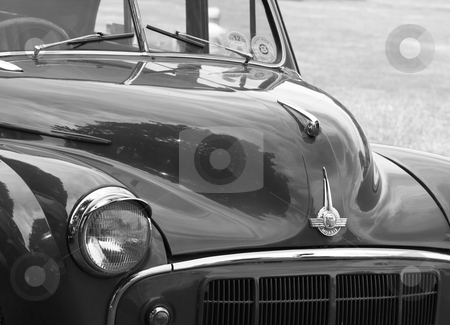 Classic car 7 stock photo, a black and white image of a great briitsh classic car  by lizapixels
