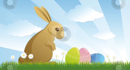 Easter rabbit stock photo, Easter rabbit and eggs in the meadow by Giordano Aita