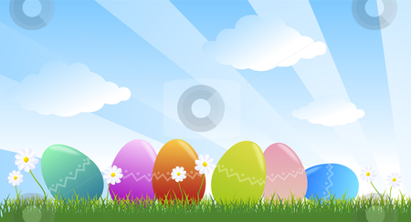 Easter eggs stock photo, Easter decorated eggs in the green meadow by Giordano Aita