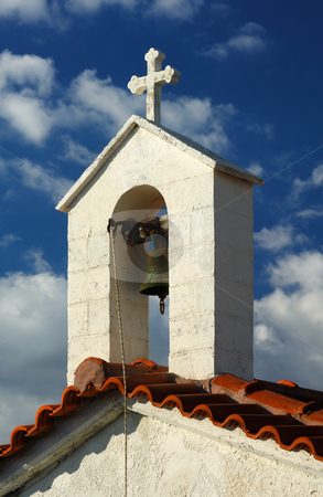 Greek chapel stock photo, A Greek countryside chapel against a blue cloudy sky by Andreas Karelias