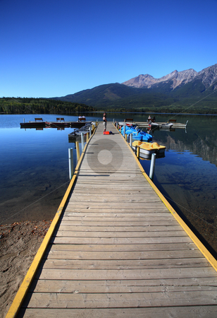 Pyramid Lake in Jasper National Park stock photo, Pyramid Lake in Jasper National Park by Mark Duffy
