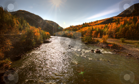 Autumn colors along Tuya River in Northern British Columbia stock photo, Autumn colors along Tuya River in Northern British Columbia by Mark Duffy