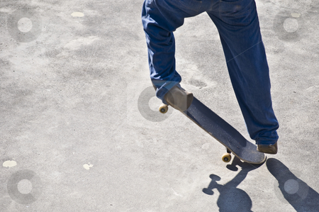 Jump stock photo, skateboarder trying to do a jump with his board by Juliane Jacobs