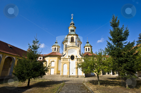 Church at the white mountain stock photo, small pilgrimage church in a suburb of Prague by Juliane Jacobs
