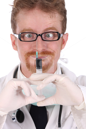 Doctor with injection  stock photo, details doctor with injection on white background by vladacanon1