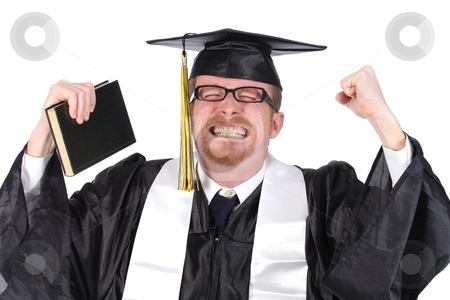 Happy graduation a young man stock photo, happy graduation a young man on white background by vladacanon1