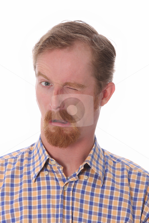 Winking man stock photo, Portrait of winking man on white background by vladacanon1