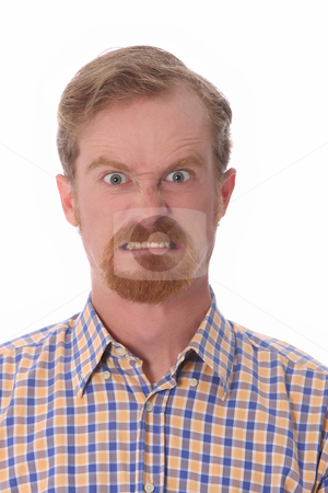 Portrait of angry man stock photo, Portrait of angry man on white background by vladacanon1