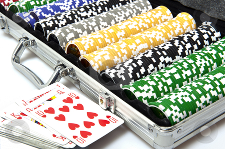Gaming case with fishes stock photo, metal briefcase with fisches for the game of poker by @ Photofollies by Carla Zagni