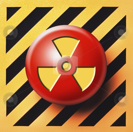 Radioactive nuclear button stock photo, Radioactive button on yellow and black background by Christian Delbert