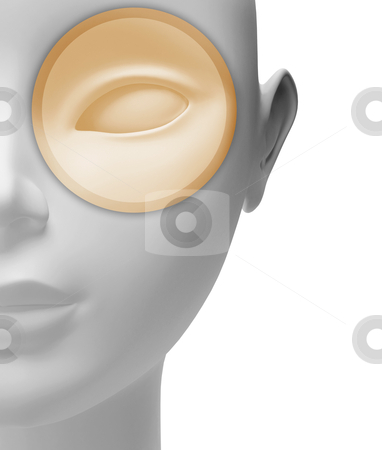Eye examination stock photo, Neutral alf head with eye in evidence by Giordano Aita