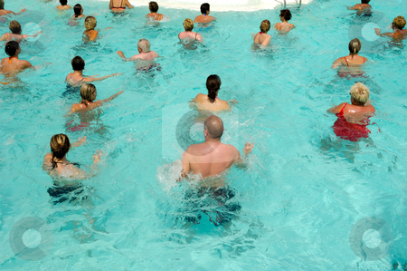 Aerobic in pool stock photo, People are doing water aerobic in pool by Lars Christensen