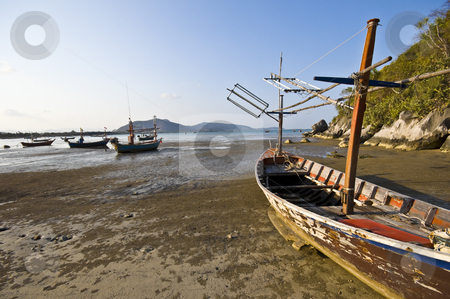 Ao Noi stock photo, old fishermen vessels in the bay of Ao Noi by Juliane Jacobs