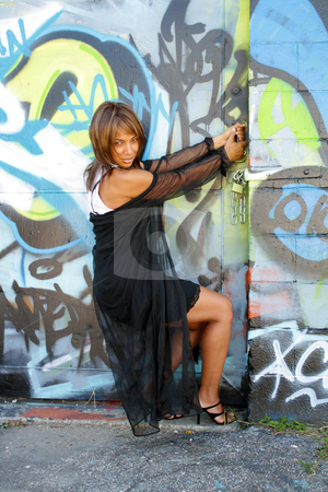 Beautiful Mature Black Woman with Graffiti (14) stock photo, A lovely mature black woman tries in vain to open a padlocked warehouse-type door covered with graffiti. by Carl Stewart