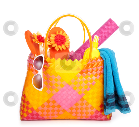 Beach bag stock photo, colorful bag with beach items by twixx