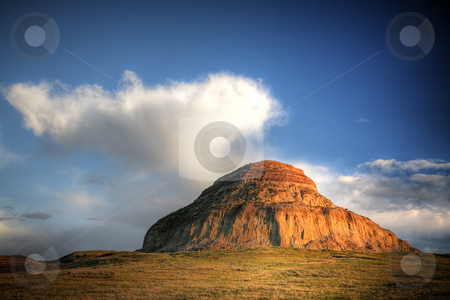 Castle Butte in Big Muddy Valley in Southern Saskatchewan stock photo, Castle Butte in Big Muddy Valley in Southern Saskatchewan by Mark Duffy