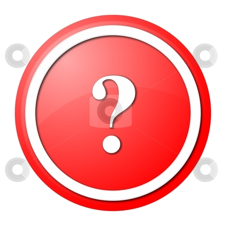 Red question mark round button stock photo, round question mark button with white ring for web design and presentation by Henrik Lehnerer