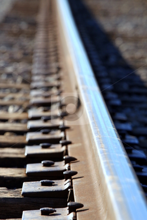 Train track stock photo, close up shot of a train track by Henrik Lehnerer