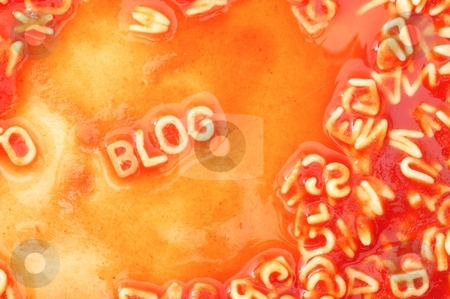 Blog stock photo, internet or web blog concept with pasta alphabet in red by Gunnar Pippel