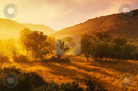 Dawn in Arcadia stock photo, Idyllic landscape in Arcadia in spectacular early morning colours.  by Andreas Karelias
