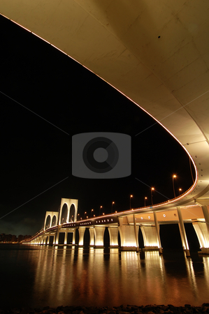 Sai Van bridge, Macau stock photo, The night of Sai Van bridge in Macau by Tito Wong