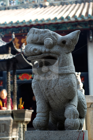 Stone lion of Chinese temple stock photo, A stone lion of Chinese temple, Kum Iam temple, Macau by Tito Wong