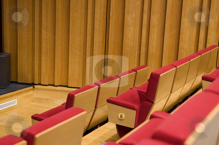 Rows of seats stock photo, Rows of seats of a theater or functional hall by Tito Wong