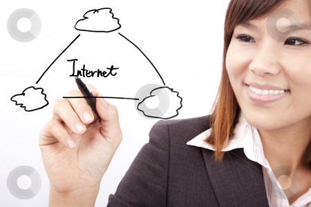 Smiling businesswoman drawing internet cloud application graph stock photo, Smiling businesswoman drawing internet cloud application graph by tomwang